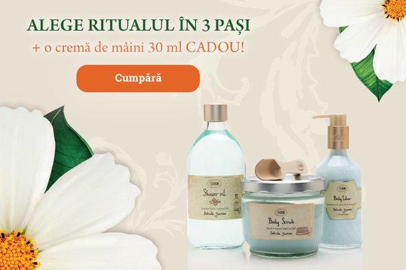 1-2-3 Ritual: 1 crema de maini PLV 30 ml pentru minim 2 produse cumparate din categoriile: Ulei de dus 500 ml, Scrub mic si mare & Crema de corp 200 ml