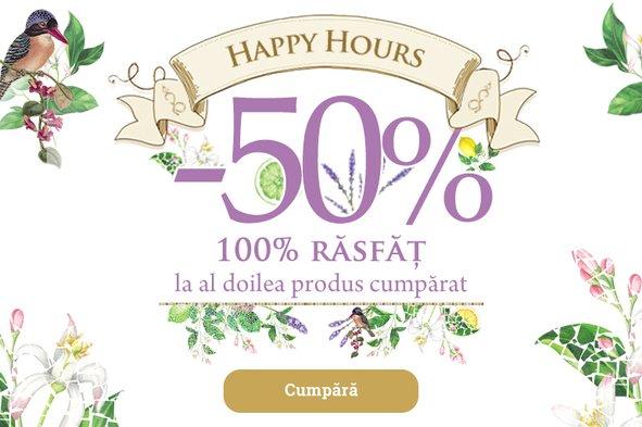 Happy Hours: 1+ 50% la al doilea produs