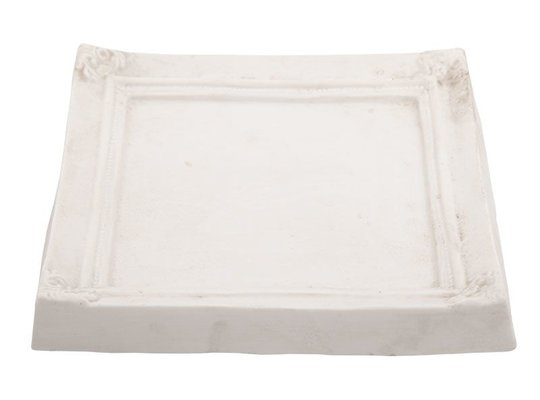 Suport lumânări Pătrat - Ramă albă (Mare)